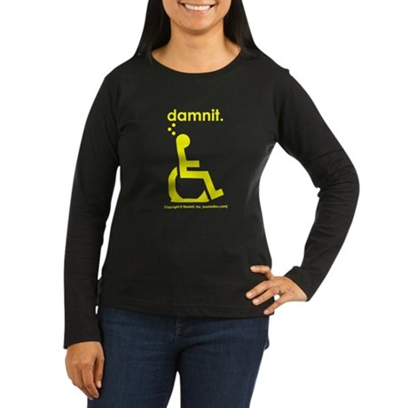 damnit.wheelchair Womens LongSleeve Black/Yellow T