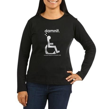 damnit.wheelchair Womens Long Sleeve Black/White T