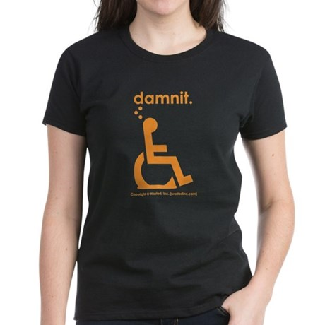 damnit.wheelchair Women's Black/Orange T-Shirt