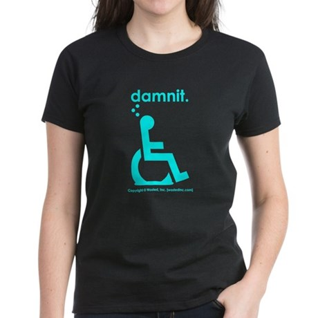damnit.wheelchair Women's Black/Cyan T-Shirt