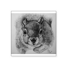 "Squrrel Sketch Square Sticker 3"" x 3"""