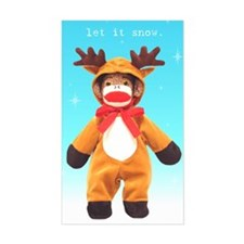 Reindeer Sock Monkey Rectangle Decal