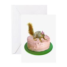 Squirrel on Cake Greeting Card