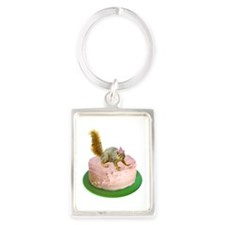 Squirrel on Cake Portrait Keychain