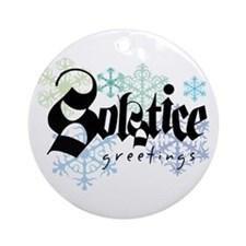 """""""Solstice Greetings"""" White Ornament"""