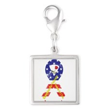 Remember Our Veterans Silver Square Charm