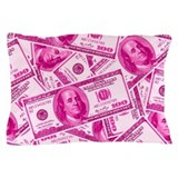 Pink Hundred Dollar Bill Pattern Pillow Case