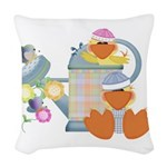 baby ducks and watering can.png Woven Throw Pillow