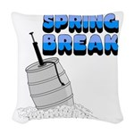 spring break keg.png Woven Throw Pillow
