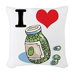 green olives.jpg Woven Throw Pillow