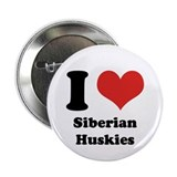 "I Heart Siberian Huskies 2.25"" Button"