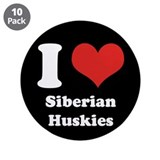 "I Heart Siberian Huskies 3.5"" Button (10 pack)"
