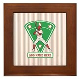 Personalized Red Baseball star player Framed Tile