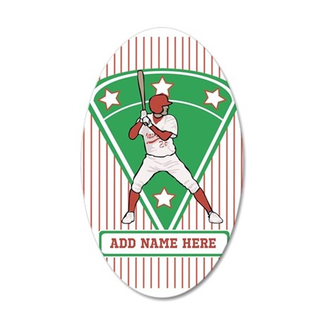 Personalized Red Baseball star player Wall Decal