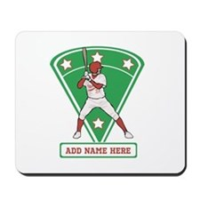 Personalized Red Baseball star player Mousepad