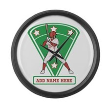 Personalized Red Baseball star player Large Wall C