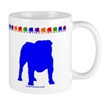 Blue Bulldog Silhouette Mug With Border