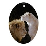 Lion and Lioness Yin/Yang Oval Ornament