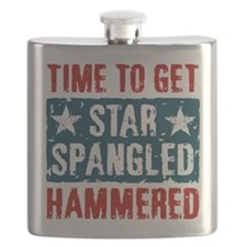Star Spangled Hammered Flask