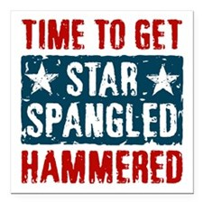 "Star Spangled Hammered Square Car Magnet 3"" x 3"""