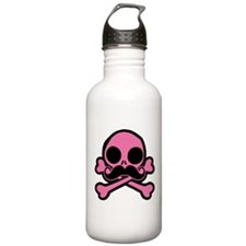 Pink Skull With Moustache Water Bottle