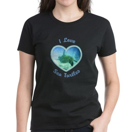 I Love Sea Turtles Women's Dark T-Shirt
