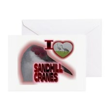 I Love Sandhill Cranes Greeting Cards (Package of