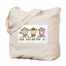 Hear See Speak No Evil Monkey Tote Bag