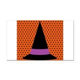 Halloween Witchs Hat on Black and Orange Polka Dot