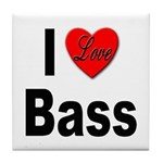 I Love Bass Tile Coaster
