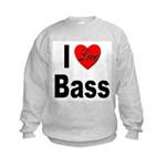 I Love Bass (Front) Kids Sweatshirt