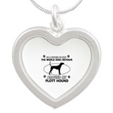 Plott Hound dog funny designs Silver Heart Necklac