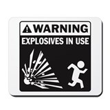 Warning: Explosives Black Mousepad
