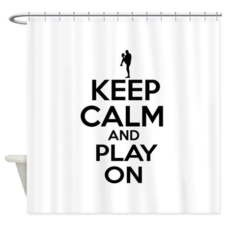 Keep calm and play baseball shower curtain by asterixteez for A bathroom i can play baseball in
