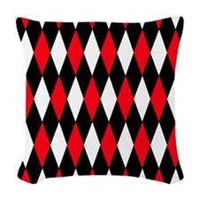 Black Red White Diamonds.jpg Woven Throw Pillow