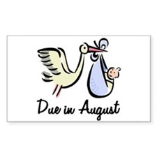 Due In August Stork Rectangle Decal