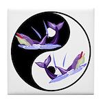 Yin Yang Dolphins Tile Coaster