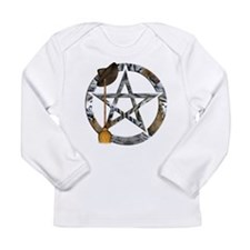Wiccan Pentacle with Broom Long Sleeve T-Shirt