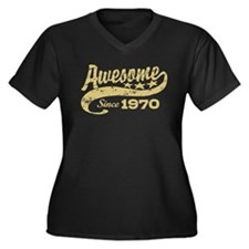 Awesome Since 1970 Women's Plus Size V-Neck Dark T