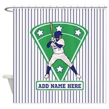 Personalized Blue Baseball star player Shower Curt