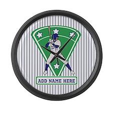 Personalized Blue Baseball star player Large Wall