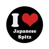 "I Heart Japanese Spitz 3.5"" Button (100 pack)"