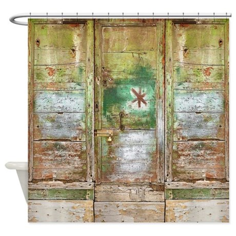 Rustic Distressed Green Doors Shower Curtain by rebeccakorpita