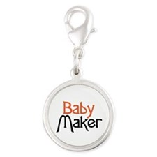 Baby Maker Silver Round Charm