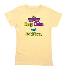 Crown Sunglasses Keep Calm And Eat Pizza Girl's Te