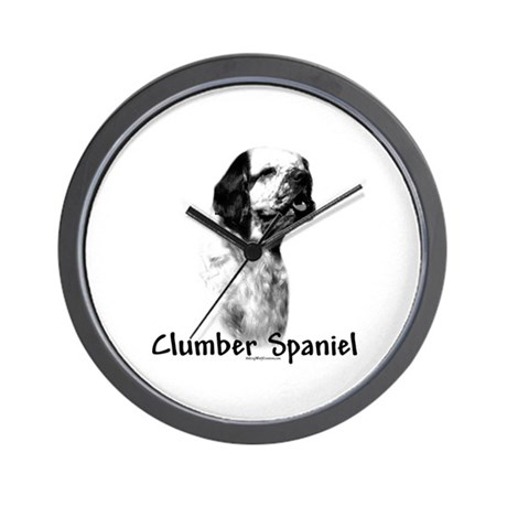 Clumber Spaniel Charcoal Wall Clock