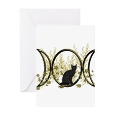 Triple Moon Art Series Cat Greeting Card