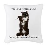 Dancing Cat Woven Throw Pillow
