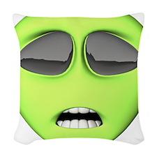 green-scaredy-cat-alien.png Woven Throw Pillow