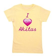 I Love/Heart Akitas Girl's Tee